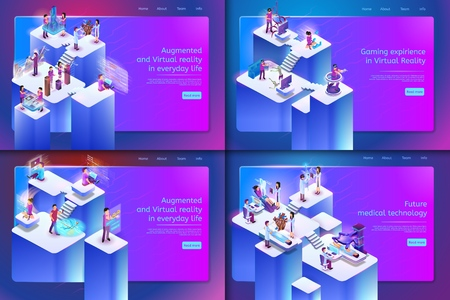 Augmented and Virtual Reality in Everyday Life. Vector Set Banner Isometric Future Medical Technology, Gaming Expirience in Virtual Reality. Building Project, Financial Analyst, Navigation, Survey