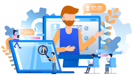 Worker Wear Headset Customer Support Magnifier. Bearded Man Call Center Operator. Character Sit on Chair Work at Laptop Tablet. Manager Magnify Avatar Head. Flat Cartoon Vector Illustration Foto de archivo - 125318089