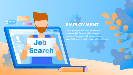 Man Look for Employment. Character Hold Nameplate. Job Search Sign, Plate. Bearded Man in Computer Laptop Monitor. Skilled Candidate, Recruit, Applicant. Flat Cartoon Vector Illustration