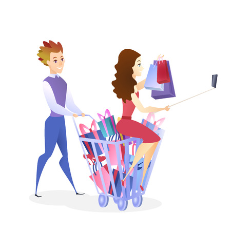 Online Shopping Website Design Element Template. Couple Buying Presents. Woman Making Selfie. Customer Satisfaction Concept. Happy Clients Illustration. Online Store Web Banner Concept Foto de archivo - 125318093