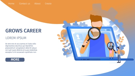 Man Character Search Career Growth Opportunity. Online Recruitment on Laptop. Hr Person Look for Candidate Presentation with Magnifier Banner Flat Cartoon Vector Character Illustration