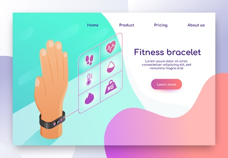 Fitness Bracelet Isometric Vector Web Banner. Human Hand with Bracelet, Sport Tracker on Wrist Illustration. Digital Gadget, Wearable Electronic Device for Sport Activity Stats Monitoring Landing Page Ilustração
