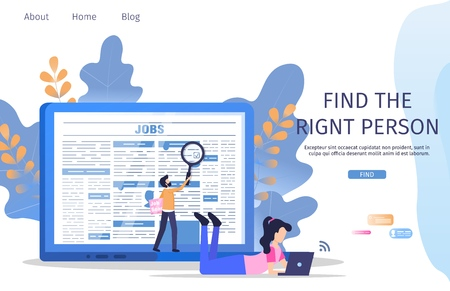 Business Manager Job Search Employee Magnifier. Recruiter Find Right Person to Vacancy. Hr Person Analysis Employer Resume. Profession Recruitment Banner Flat Cartoon Vector Character Illustration Stock Illustratie