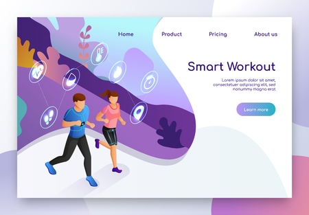 Workout with Smart Electronic Devices Isometric Vector Web Banner. Man and Woman Using Smart Sportswear and Gadgets while Running in Park Illustration. Online Service for Sportspeople Landing Page