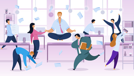 Work Rush, Office Routine Vector Illustration. Businessman in Lotus Position at Workplace. Working-Day, Chaos Color Cartoon Clipart. Time Management Concept. Busy, Stressed Employees Fussing