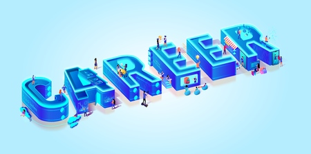Isometric 3d Word Career. Creative Letters on Light Blue Gradient Background. Little People Search Job in Neon City Using Smart High Technology. Education, Shopping, Activity. Flat Vector Illustration Иллюстрация