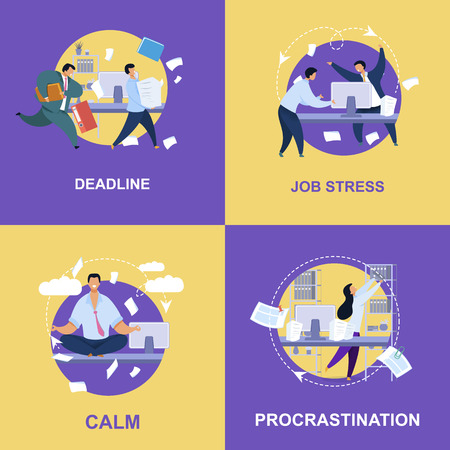 Office Life Flat Vector Illustrations Collection. Deadline, Job Stress, Calm, Procrastination Concepts with Lettering. Meditating Man, Shouting Boss at Workplace. Posters on Purple, Yellow Background