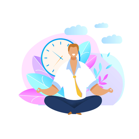 Office Worker Meditating Flat Vector Illustration. Relaxed Businessman in Lotus Position. Calm, Smiling Employee Taking Break. Time Management Concept. Clock, Plants, Leaf, Nature Background