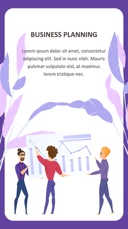 Big Data Analysis Grath Vector Mobile Banner. Business Planning Man Character. Digital Marketing Presentation. Finance Case Technology Concept for Website or Landing Page. Flat Cartoon Illustration Vettoriali