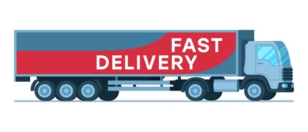 Big Grey Fast Delivery Shipping Company Truck. Warehouse Human-Driven Express Transportation Device. Side View of Supply Van with Title. Depot Transport. Flat Cartoon Vector Illustration