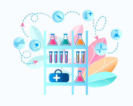 Illustration Medical Laboratory Researching Virus. Vector Image Rack on Which Medical Equipment is Located. Shelf with Ampoule, Flask, Set Medical Drug. Biological Research Virus. on White Background