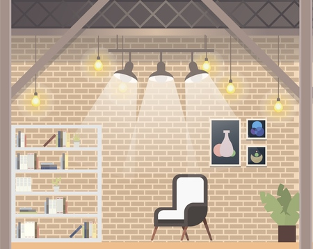 Comfortable Coworking Office Design. Creative Workplace, Modern Informal Open Space Interior. Shared Work Area with Chair, Book Shelf, Bright Lamp. Flat Cartoon Vector Illustration Ilustracja