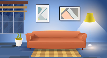 Living Room Interior Cartoon Vector Illustration with Comfortable Sofa in cozy Room, Window Overlooking on Night City, Lighted Elegant Floor Lamp, Plant in Pot, Carpet on Floor and Paintings on Wall