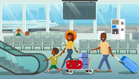 Family Departure or Arrival in Airport Cartoon Vector Concept with African-American Parents with Little Child Carrying Baggage, Walking to Escalator in Airport. Tourists Hurrying to Boarding Airplane