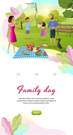 Family Day Cartoon Vector Vertical Mobile App Web Banner Template With Happy Parents Resting Together in Park, Children Playing Ball, Launching Kite Illustration. Father and Mother on Picnic with Kids