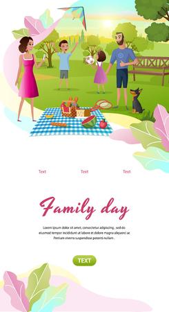 Plantilla de banner web de aplicación móvil vertical de vector de dibujos animados de día de la familia con padres felices descansando juntos en el parque, niños jugando a la pelota, ilustración de lanzamiento de cometas. Padre y madre de picnic con niños