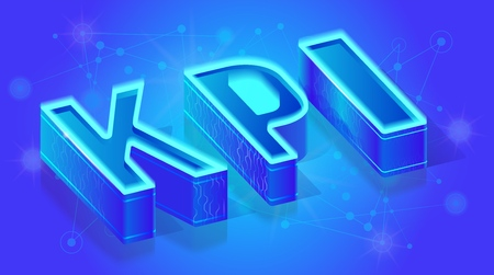 KPI Three-Dimensional Glowing with Blue Neon Light Text, Isometric Vector Typography Template, Design Element for Marketing Company, Business Analysis Web Banner. English ABC Illuminated Letters Set