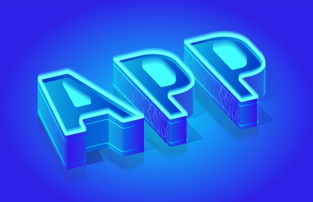 App Three-Dimensional Word, Glowing with Blue Neon Color Sample Text, Isometric Vector Typography Template for Promo Banner, Business Concept, Web Design Element. English ABC Illuminated Letters Set
