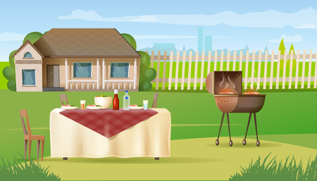 Family Holiday Dinner Cartoon Vector with Salad in Bowl, Steak Cooked on Barbeque Grill in Plates and Drinks Standing at Table Covered Tablecloth Illustration. Summer Picnic near Country House Concept  イラスト・ベクター素材