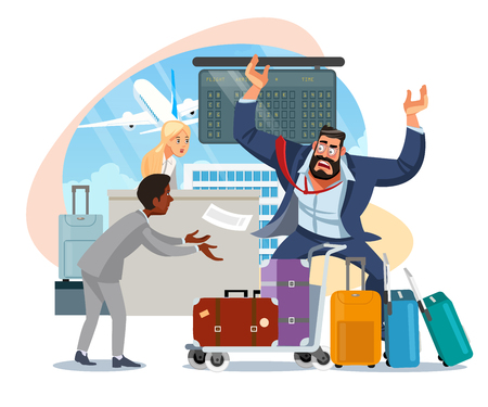 Businessman Mad Because of Late on Plane, Arguing with Airport Personnel Because of Luggage Missing After Arrival Cartoon Vector Illustration Isolated on White Background. Oversized Baggage Concept