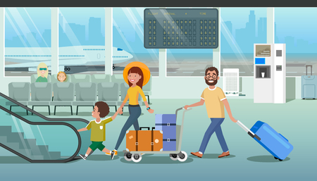 Family Departure or Arrival in Airport Cartoon Vector Concept with Father Pushing Baggage Trolley with Bags, Mother Holding Child by Hand While Walking to Escalator in Airport. Hurry to Boarding Plane Ilustração