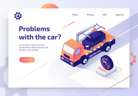 Round The Clock Car Towing Truck Service Isometric Vector Web Banner with Flatbed Truck Transporting Vehicle to Repair Shop Illustration. Road Assistance and Evacuation Service Landing Page Template