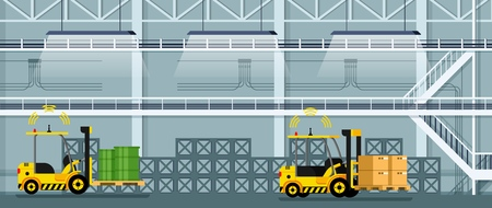 Automatic Forklift Car Driving Freight and Goods. Mechanical Loader Carrying Cardboard Box and Green Tank. Empty Manufacturing Warehouse. Smart Factory. Flat Cartoon Vector Illustration Ilustração