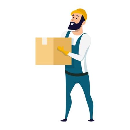 Service de livraison personnage masculin tenant une boîte en carton. Employé d'entrepôt souriant vêtu d'un uniforme général et d'un casque de sécurité debout avec un paquet à la main. Illustration vectorielle de dessin animé plat