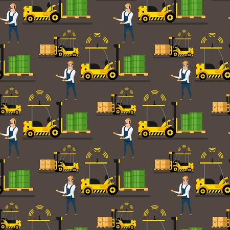 Storage Automatic Loader, Delivery Man Pattern. Mechanical Forklift Car Lifting Green Tank up. Warehouse Male Worker Character in Uniform with Check List. Flat Cartoon Vector Illustration