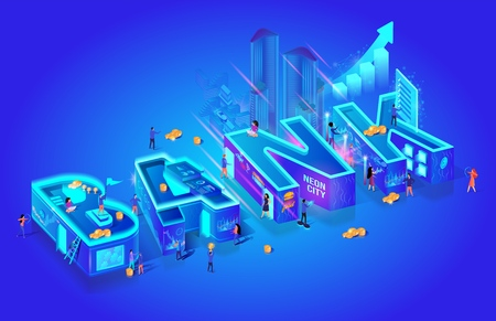Isometric Projection of Word Bank. Futuristic Smart Investment Technology. Global System Network. Financial Investment Economic Trends. Little Characters in City Use New Tech. 3d Vector Illustration.