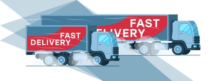 Two Grey Warehouse Fast Delivery Company Truck. Manufacture Depot Express Supply. Big Shipping Van with Title on Side Moving Quickly to Smoke under Wheel. Flat Cartoon Vector Illustration Ilustrace