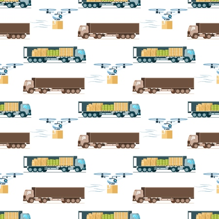 Warehouse Fast Delivery Item Seamless Pattern. Open and Close Storage Express Shipping Truck, Automatic Flying Air Drone Carring Package. Transport on Wallpaper. Flat Cartoon Vector Illustration