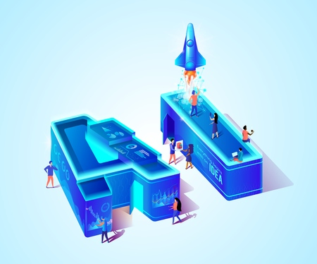 AI 3d Neon Isometric Letters. Artificial Intelligence. Everything Begins with an Idea. Little Scientist People Working on Creation Technology of Future. Rocket Going Up To Sky. Vector Illustration. Ilustrace