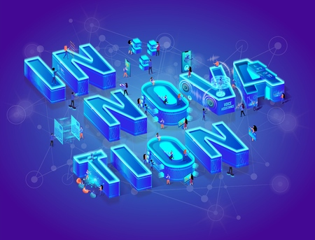 Innovation 3d Neon Isometric Lettering. Little People Using Augmented Virtual Reality, Devices, Gadjets and Smart Technology in Life. Tiny Characters Waking Around of Huge Letters. Vector Illustration