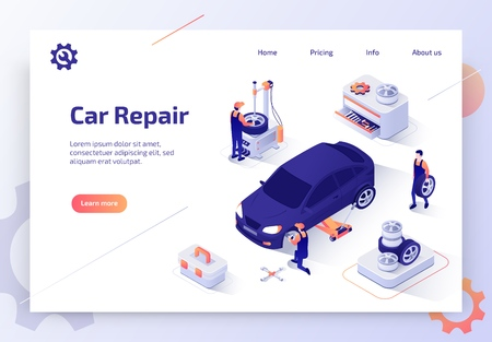 Car Repair Shop, Auto Dealer Diagnostic Service Isometric Vector Web Banner. Team of Mechanics Working in Garage, Repairing, Replacing Car Tires Illustration. Automobile Spare Parts Store Landing Page  イラスト・ベクター素材