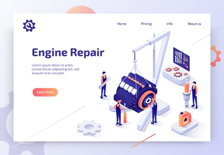 Car Repair Service, Auto Diagnostic Center Isometric Vector Web Banner with Automotive Technicians Team Working to Repair Engine Illustration. Automobile Spare Parts Online Store Landing Page Template