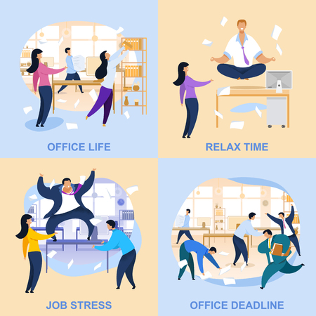 Office Life Flat Vector Illustrations Collection. Deadline, Job Stress, Relax Time Concepts with Lettering. Meditating Businessman, Angry Boss at Workplace. Workday, Routine Chaos Cartoon Drawings Set