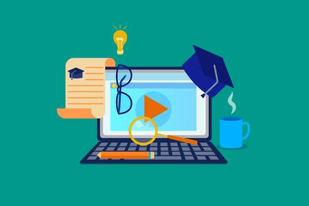 Computadora portátil con ventana de seminario web abierta. Gorra académica, lupa, gafas, bombilla, diploma, lápiz, taza alrededor. E-learning, educación en línea. Ilustración de vector plano aislado sobre fondo verde