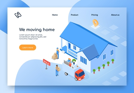 Removal or Moving Service Isometric Vector Web Banner. Workers Loading Furniture, Home Stuff Packed in Boxes in Truck near Sold House Illustration. Delivery, Real Estate Company Landing Page Template