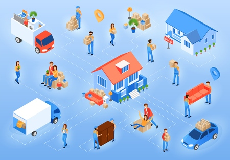Moving in New House Isometric Projection Vector Concept with Happy People Relocate to Their New Dwelling, Moving Company Worker Carrying Boxes and Furniture, Truck Delivering Home Stuff Illustration