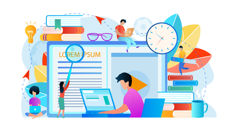 Student Watching Lesson at Laptop Via Internet. Domestic Studying. Learning People Around. Educational Attributes Infographics. Boy and Girl are Engaged in Online Education. Flat Vector Illustration.