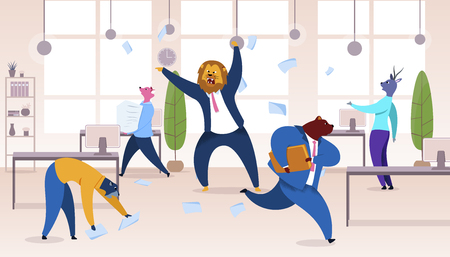 Angry Boss with Lion Head Vector Illustration. Office Workers Metaphor as Animals. Employer Shouting at Employees. Workday, Work Rush, Chaos, Deadline Concept. Humanised Mammal Carrying Documents Vettoriali