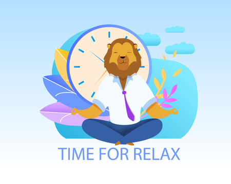 Office Worker with Lion Head Meditating Clipart. Metaphor of Businessman as Animals King. Clock, Plants Background. Time to Relax Lettering Vector Concept. Humanised Predator in Yoga Lotus Position