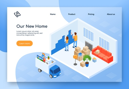 Real Estate or Construction Company, Home Moving Service Isometric Vector Web Banner, Landing Page. Couple Painting Wall in Their New House or Apartment After Relocation, Truck with Stuff Illustration Standard-Bild - 125182889