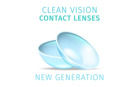 Transparent Clean Vision Contact Lenses Isolated on White Background. Close Up View of Couple Soft Lens. New Generation Ophthalmology Equipment for Vision Correction. Realistic Vector Illustration Banque d'images - 117170738