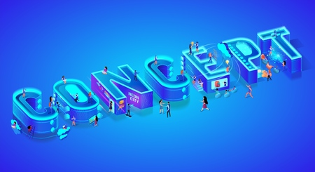 Isometric 3d Word Concept. Miniature City Characters. Users with Gadgets, Smartphones and Devices. Virtual and Augmented Reality, Chat bot, Cloud Storage System. Ultramarine Neon Vector Illustration. Иллюстрация