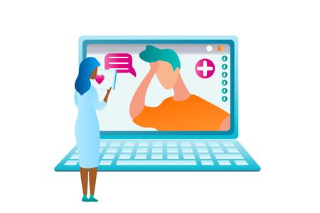 Illustration Girl Doctor Examining Analysis Result. Vector Image Guy Sought Medical Assistance from Online Specialist. Woman Standing Laptop Prescribe Treatment for Patient. Modern Medicine Healthcare Vettoriali