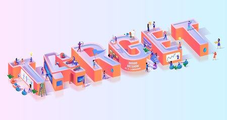 Objective Business Target Effort Typography Banner. Leadership Strategy for Competition Focus. Amateur Skill Failure to Hit Goal Concept Motivation Isometric 3d Vector Illustration 일러스트