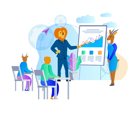 Humanised Lion Business Man and Gazelle Woman Successful Coachers Teaching Young Students in Openair Classroom Standing at Board with Graphs and Charts. Cartoon Characters. Flat Vector Illustration