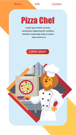Cartoon Pizza Chef Vertical Banner with Copy Space. Lion King of Animals Character Dressed in White Cooking Robe and Hat Hold Pizza Box in Paw on Kitchen Background with Food. Flat Vector Illustration Illustration